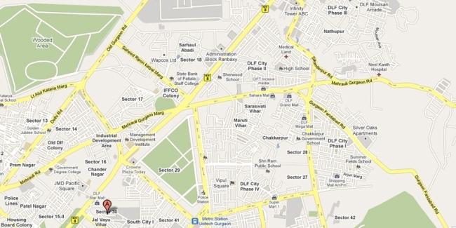 Map location Park Centra, Gurgaon